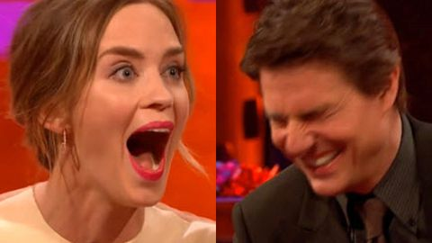 Naughty naughty! Tom Cruise cracks up at Emily Blunt's accidental come-on