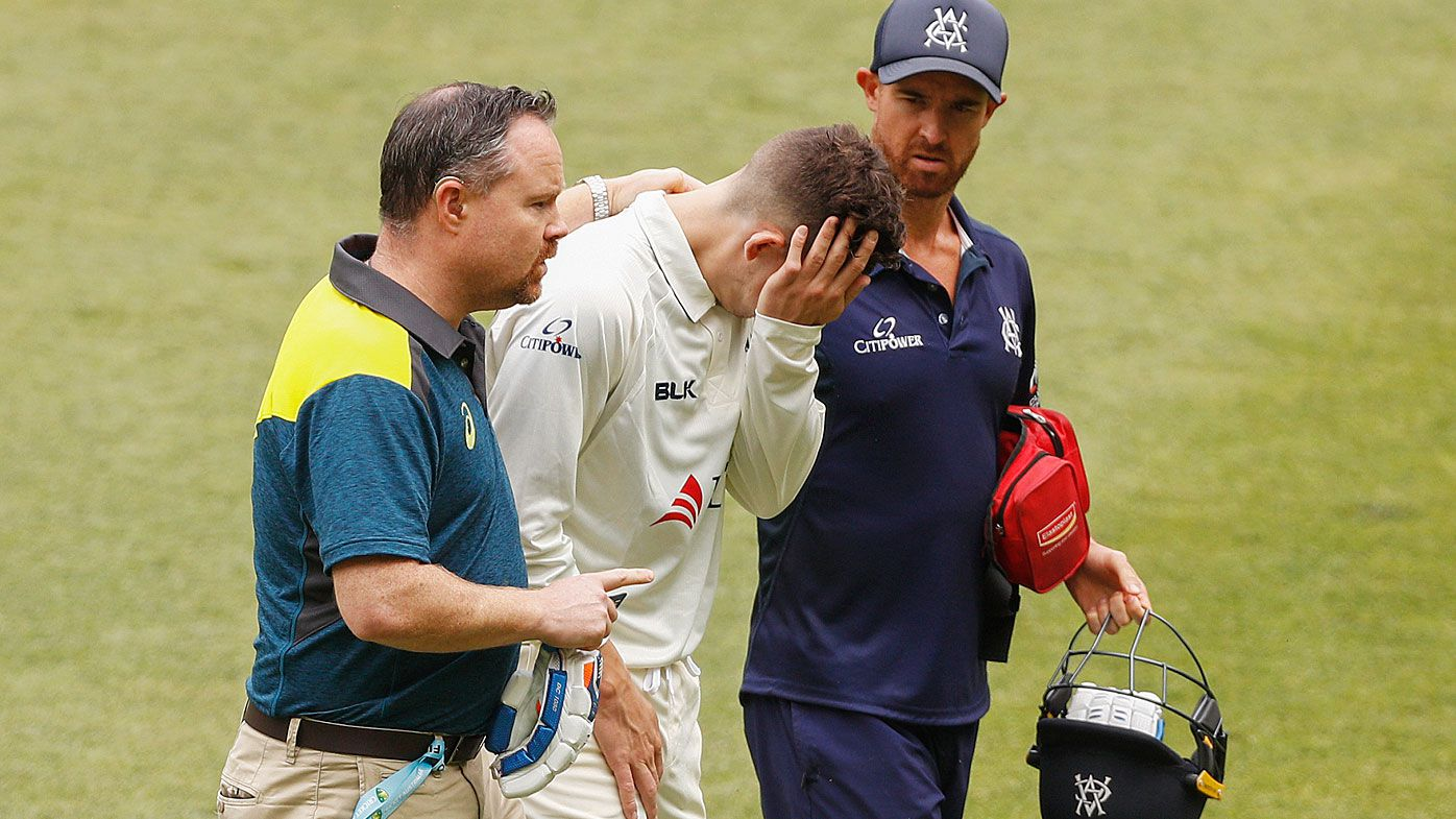 Victorian opener Nic Maddinson struck by bouncer in Sheffield Shield