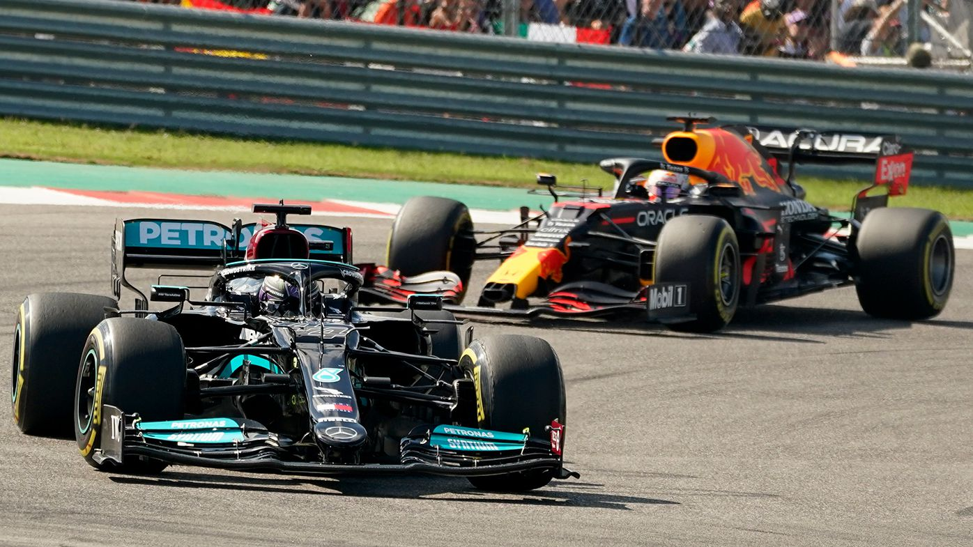 Lewis Hamilton leads Max Verstappen at the US Grand Prix.