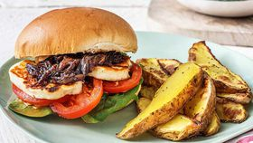 Mediterranean haloumi and onion jam burger