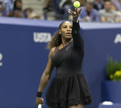 <p>Serena sports a black tutu getup while playing sister Venus Williams in the 3rd round of the US Open on 31 August, 2018.</p>