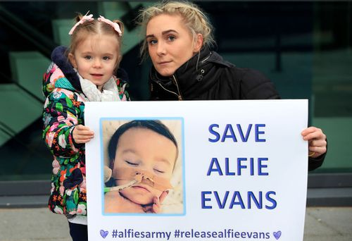 Hundreds of people were seen earlier this month outside the boy's hospital, protesting a Supreme Court decision to keep Alfie in care in the UK. Picture: AAP.