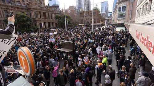 Lockdown protests cram into the streets of Sydney's CBD.