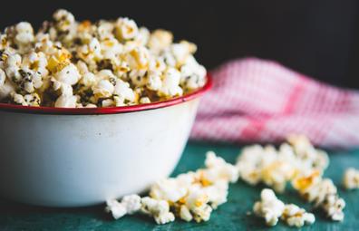 Bowl of popcorn health snack stock image