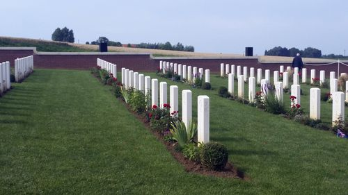 Hundreds of fallen Australian soldiers are buried at the Commonwealth War Graves Commission Cemetery at Fromelles. (AAP)