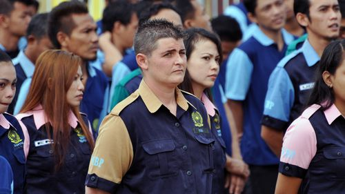 Convicted drug mule Renae Lawrence takes part in Indonesian Independence Day activities inside Kerobokan jail in Bali, Indonesia on Friday, Aug. 17, 2012. The only female member of the so called Bali Nine has been recommended for a six-month cut to her 20-year sentence for drug smuggling.