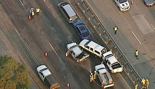 The crash scene on the M1 near Mooney Mooney on the NSW Central Coast. (9News).