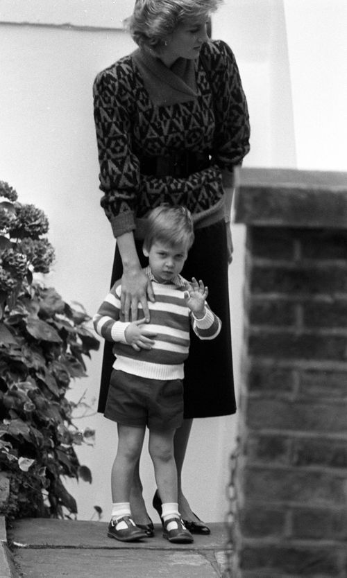 A photo from September 24, 1985, of Princess Charlotte's father William and his mother Diana on his first day of nursery school. (AAP)
