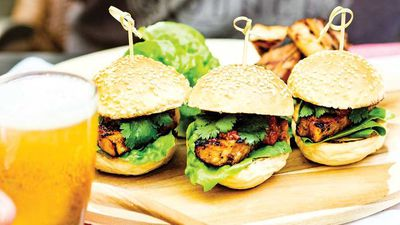 """<a href=""""http://kitchen.nine.com.au/2017/02/17/07/07/buns-with-barbecued-pork-belly-and-chilli-jam"""" target=""""_top"""">Buns with barbecued pork belly and chilli jam</a><br /> <br /> <a href=""""http://kitchen.nine.com.au/2016/06/06/20/18/nice-buns-our-favourite-burger-recipes"""" target=""""_top"""">More burger inspiration</a>"""