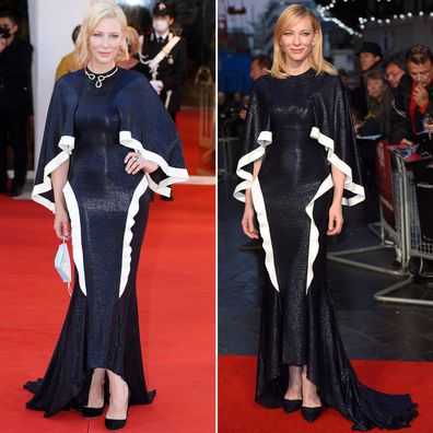 Cate Blanchett at the 2020 Venice Film Festival and the 2015 London premiere of Carol.