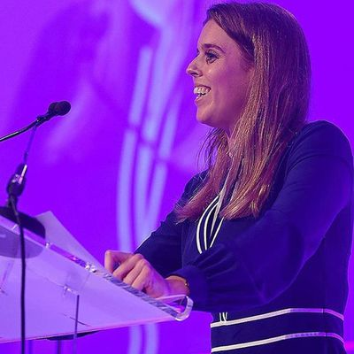 Princess Beatrice speaking at the Education World Forum in London
