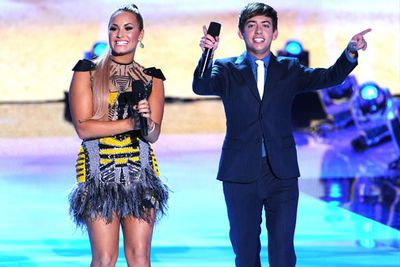 The hosts for the evening, pop star Demi Lovato and <i>Glee</i>'s Kevin McHale.
