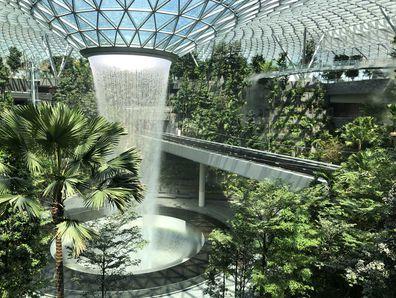Jewel Changi's Rain Vortext 40 metre tall water feature