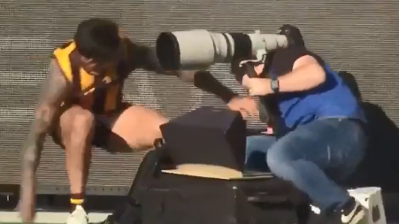 'He would have great vision': Chad Wingard accidentally takes out cameraman after wonder-goal