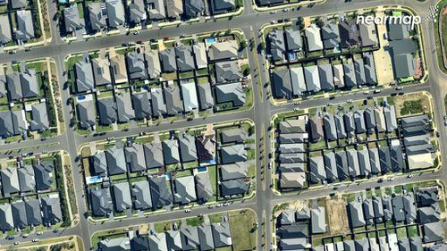 The compact Gregory Hills development. (Nearmap)