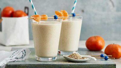"""Recipe:&nbsp;<a href=""""http://kitchen.nine.com.au/2017/09/01/17/05/mandarin-breakfast-smoothie"""" target=""""_top"""">Mandarin breakfast smoothie</a>"""