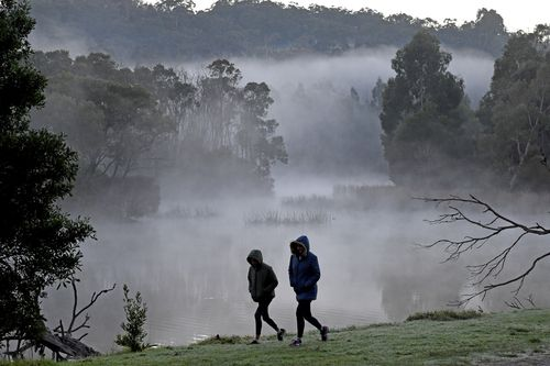 Two early walkers brave the cold weather at Birdsland reserve in Belgrave South, east of Melbourne this morning.