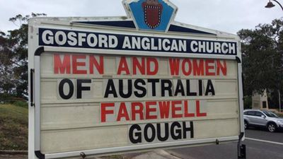 The church's goodbye to the recently-deceased PM.
