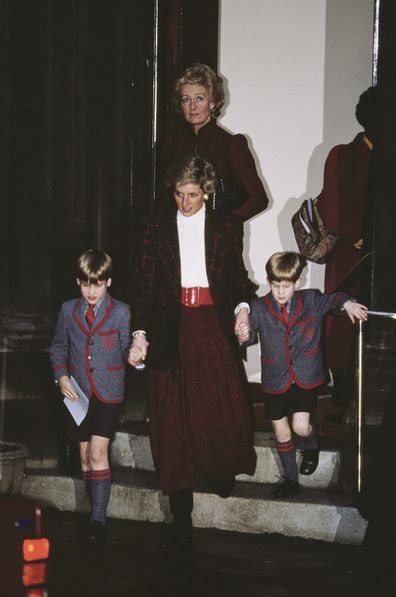 Diana, her mother and sons at St Matthew's Church in London, after the Wetherby School Christmas carol concert, December 1989.