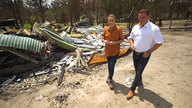 Today show hosts Karl Stefanovic and Ally Langdon surveyed the scenes of the devastating bushfires that swept across East Gippsland.