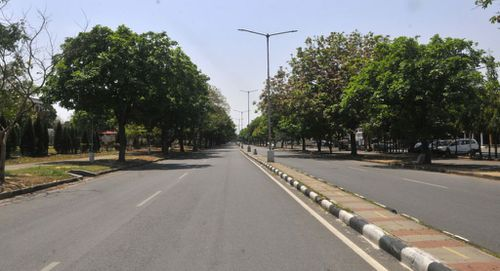 Roads empty at Sector 21-22 due to a Covid-19 lockdown in Chandigarh, India.