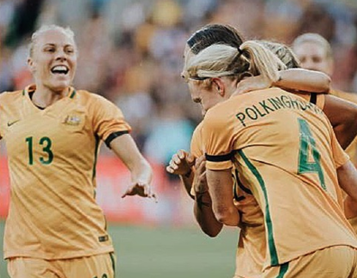 Tameka Yallop playing for The Matildas