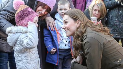 Kate Middleton, Duchess of Cambridge meets with children from two local nurseries during a visit to The Ark Open Farm on February 12, 2020 in Newtownards, Northern Ireland