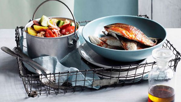 Smoked paprika mackerel with gazpacho salad
