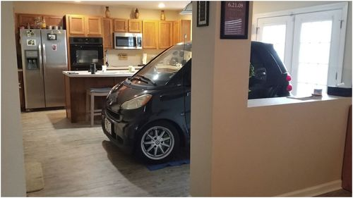 A Florida man worried his smart car would be blown away by Hurricane Dorian came up with a novel solution – he parked it in his kitchen.