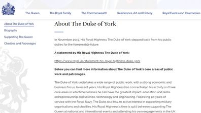 Prince Andrew's page on royal.uk