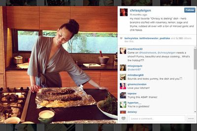 """@chrissyteigen: my most favorite """"Chrissy is dieting"""" dish - herb branzino stuffed with rosemary, lemon, sage and thyme, rubbed all over with a ton of minced garlic and chili flakes."""