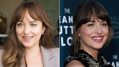 Dakota Johnson before and after getting her tooth gap closed.