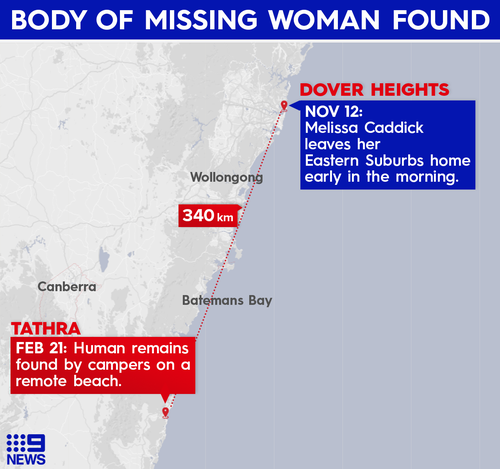 It appears Melissa Caddick's remains drifted south from Sydney to the Far South Coast of NSW.