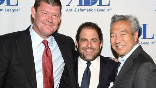 RatPac Entertainment's James Packer and Brett Ratner, with former Warner Bros. Entertainment chief executive Kevin Tsujihara.