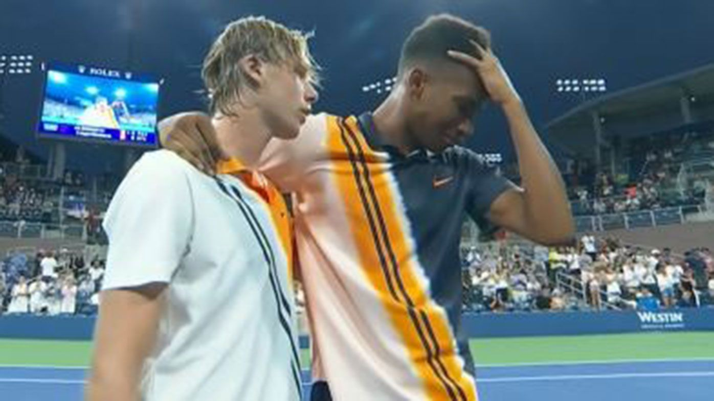 Felix Auger-Aliassime and Denis Shapovalov after their first round match at the US Open