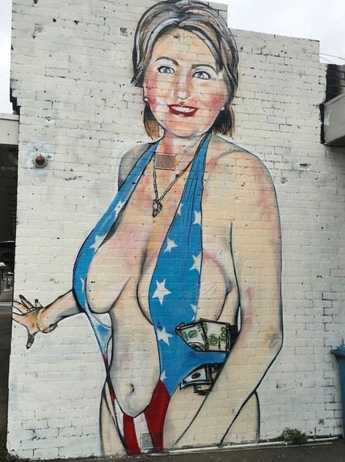 The revealing Hillary Clinton mural in Melbourne. (Facebook)