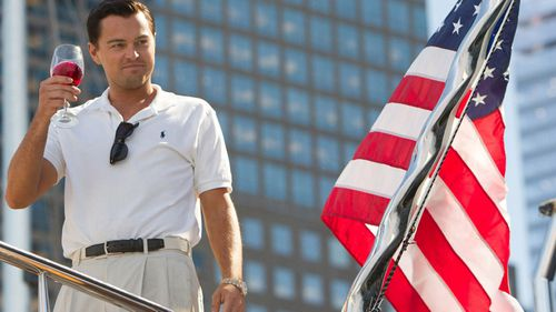 Leonardo DiCaprio as Belfort in The Wolf of Wall Street.