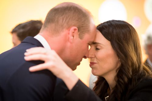 Britain's Prince William, Duke of Cambridge, hongi with New Zealand Prime Minister Jacinda Ardern at an Anzac Day service at the Auckland War Memorial.