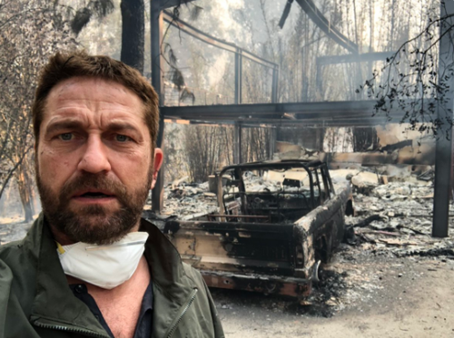 Actor Gerard Butler tweeted a picture standing out the front of his home, now a pile of ash and rubble after the fire tore through Malibu.