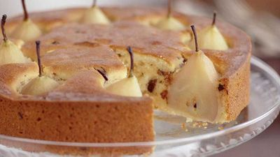"Recipe: <a href=""http://kitchen.nine.com.au/2016/05/18/00/04/vanilla-pear-almond-cake"" target=""_top"">Vanilla pear almond cake</a>"