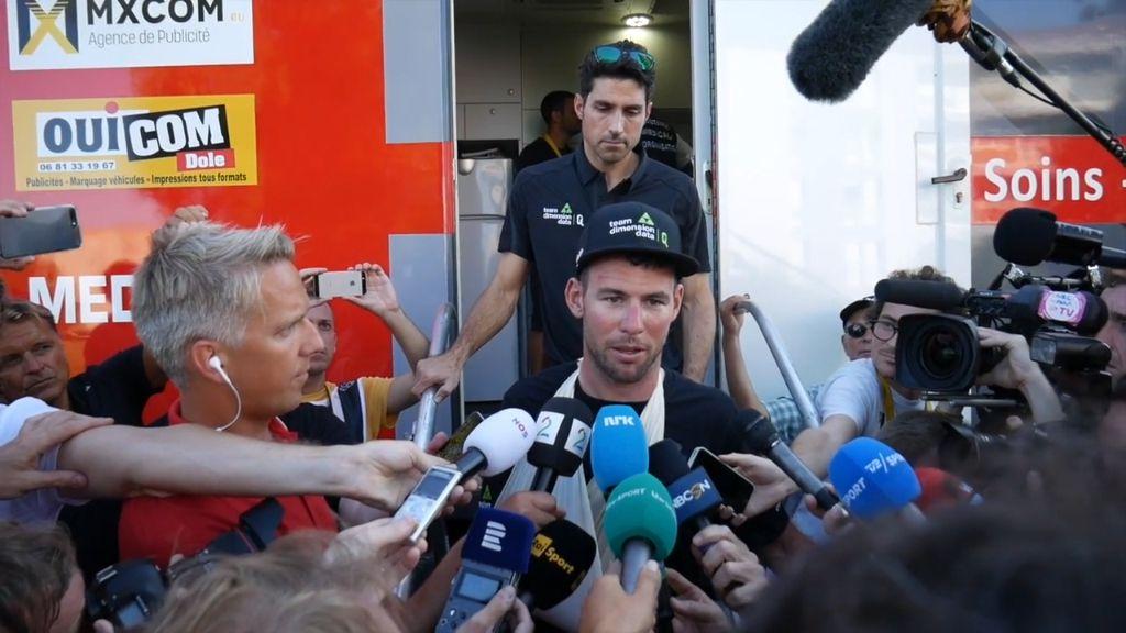 Cavendish reacts to crash