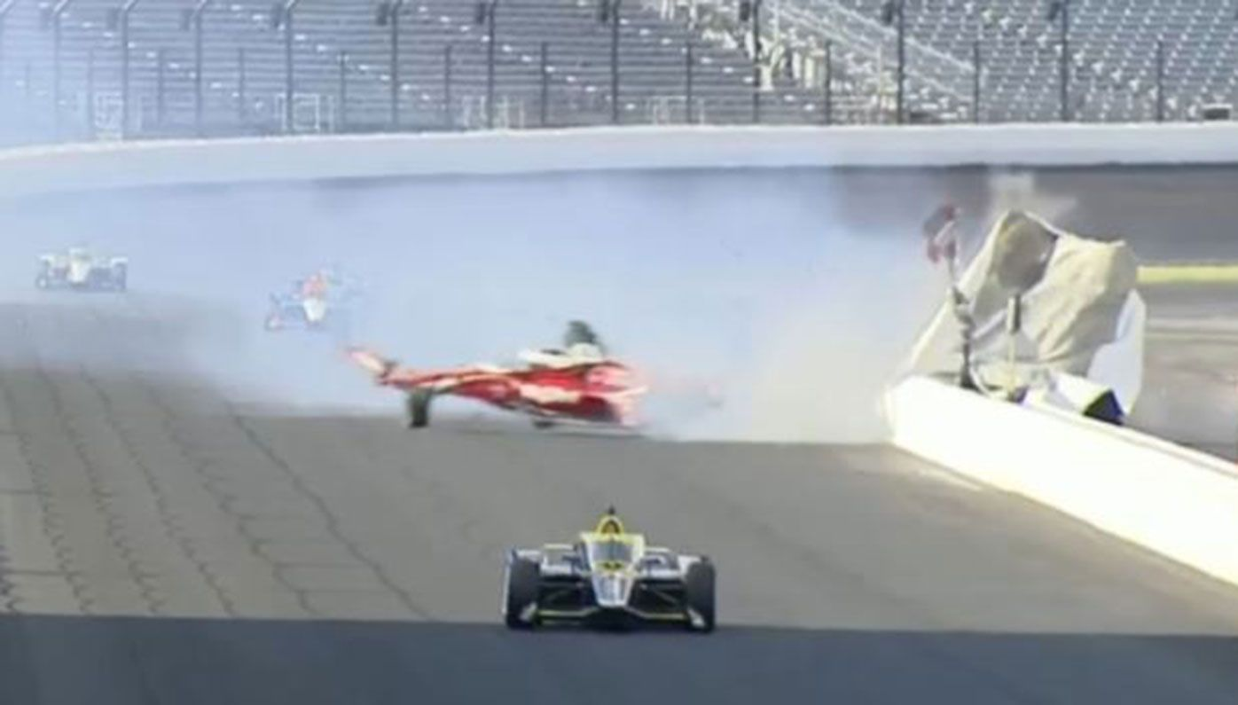 Spencer Pigot was lucky to escape serious injury after this crash at the Indy500.