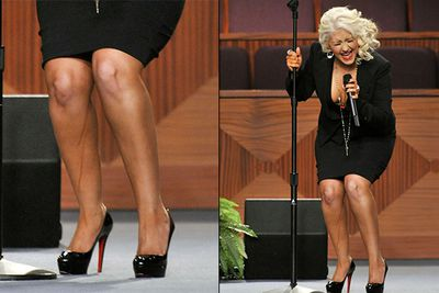 Admit it, at first glance you thought Xtina had chucked a Fergie and wet herself on stage ... but nope! This was just a case of last-minute fake tan coupled with nervous sweats at the legendary Etta James' funeral. Awks.