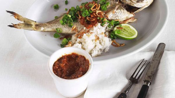 Roast bream with sambal and coconut rice