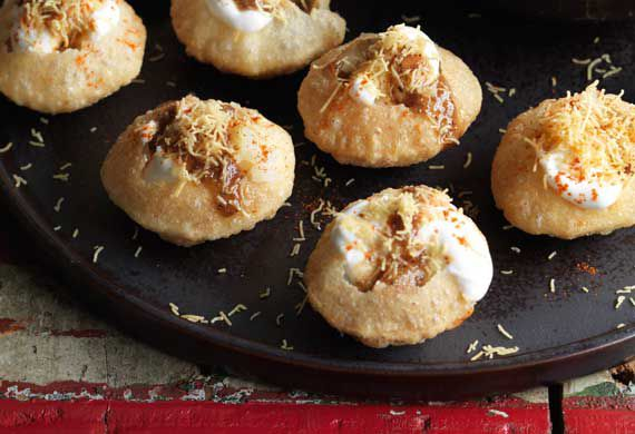 Anjum Anand's puchkas with sweet and sour tamarind chutney