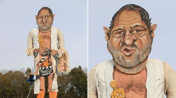 Artists Frank Shepherd and Andrea Deans put the finishing touches to the Edenbridge Bonfire Society effigy, which has been unveiled as Harvey Weinstein, for Bonfire Night in Edenbridge, England. (AP)