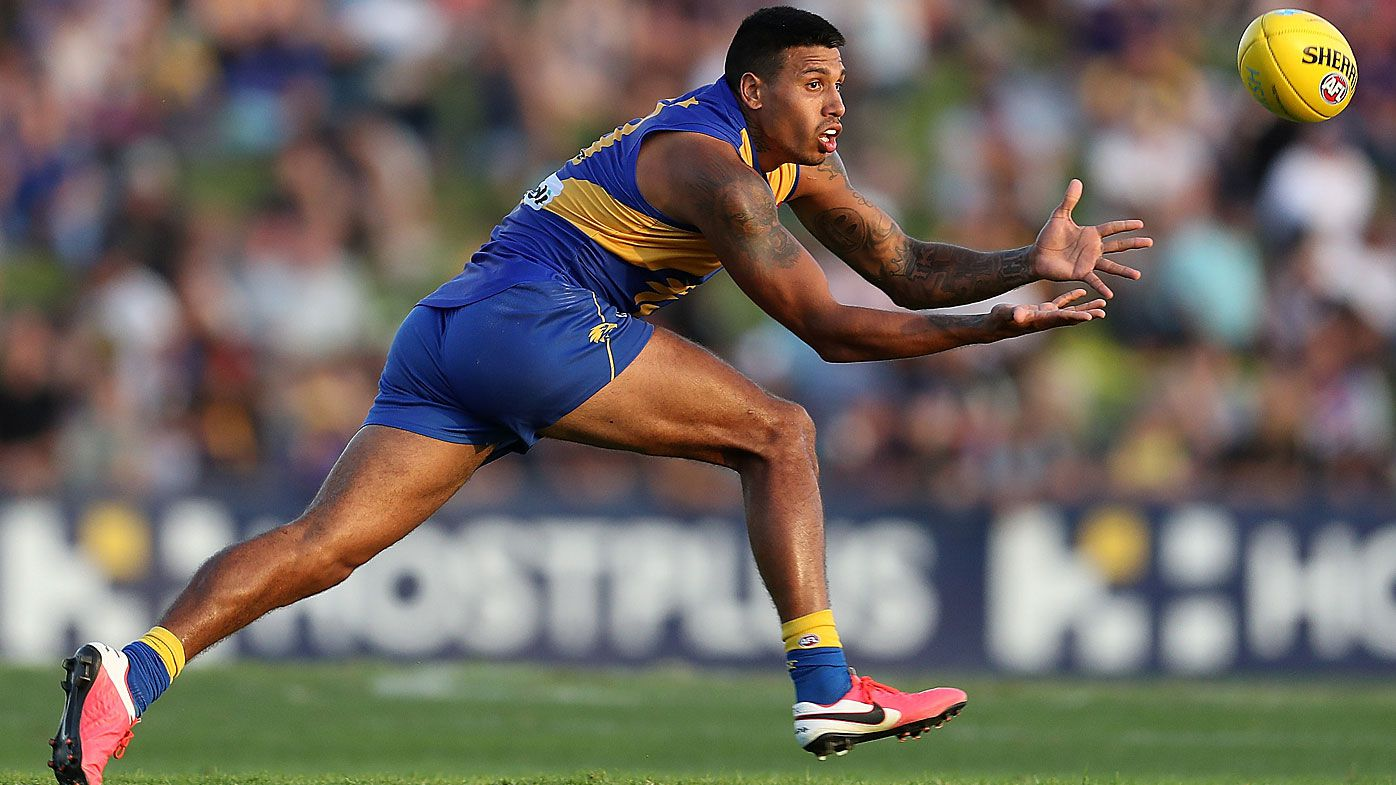 Tim Kelly marks the ball during the 2020 Marsh Community Series AFL match between the West Coast Eagles and the Fremantle