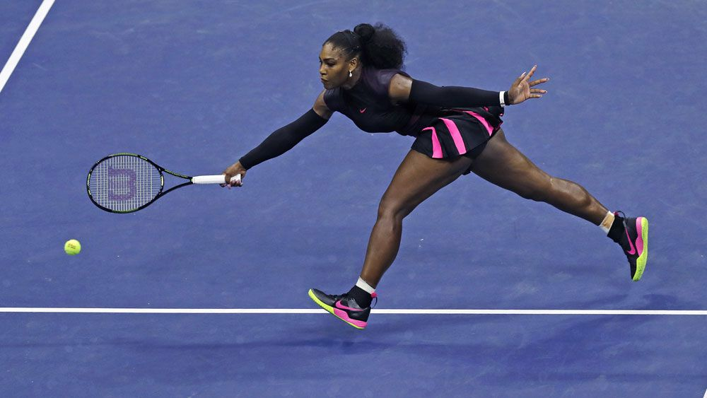 Serena Williams has beaten Simona Halep in the semi-finals of the US Open. (AAP)