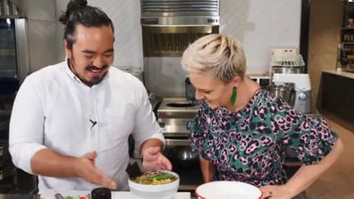 Adam Liaw cooks two-minute noodles for Jane de Graaff
