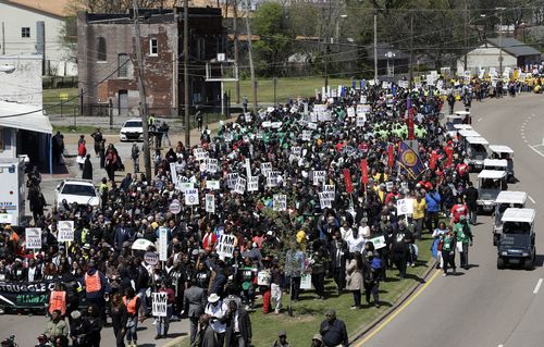 Thousands have marched through Memphis on the 50th anniversary of Martin Luther King Jr's assassination in the town. (AAP)